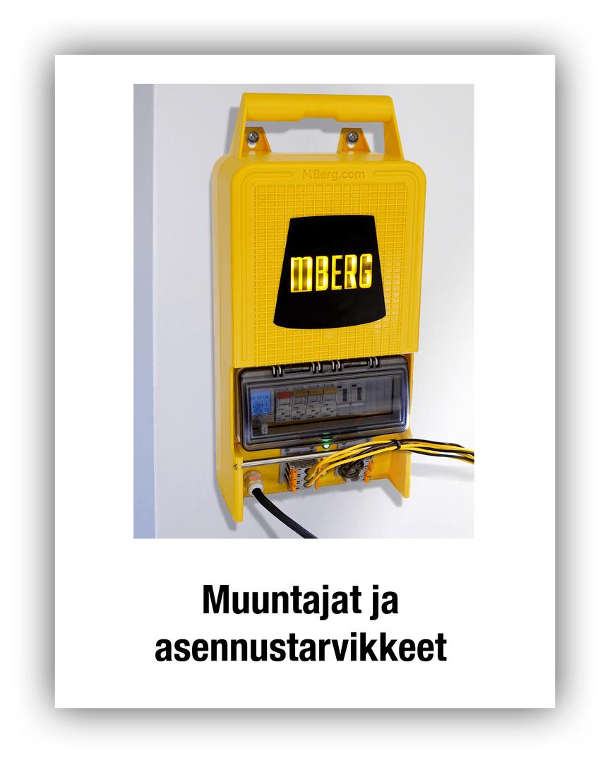 MBerg työmaavalaistuksen muuntajat ja asennustarvikkeet